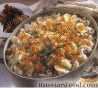 Фото к рецепту: Картофель запеченый с фаршем и яйцами