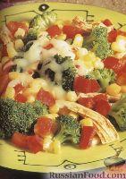 Фото к рецепту: Жареные овощи с курятиной и сыром