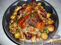 Фото к рецепту: Курица с начинкой и молодым картофелем
