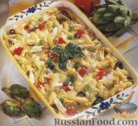 Фото к рецепту: Макароны, запеченные с куриным филе, артишоками и оливками