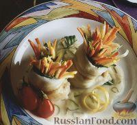 Фото к рецепту: Рыбные рулеты, фаршированные овощами