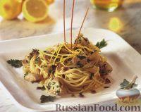 Фото к рецепту: Спагетти с куриным филе в лимонном соусе