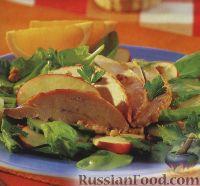 Фото к рецепту: Салат с куриным филе, орехами и яблоками