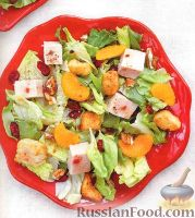 Фото к рецепту: Быстрый салат с индюшиным филе и мандаринами