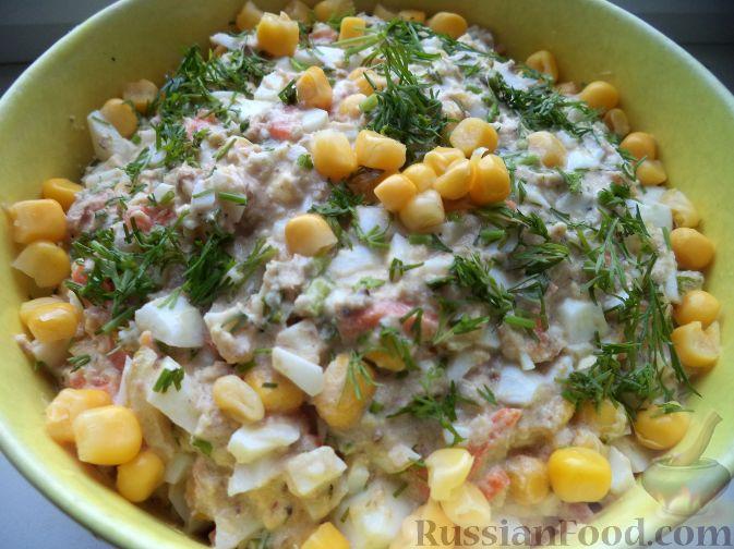 рыбный салат с кукурузой рецепты с фото