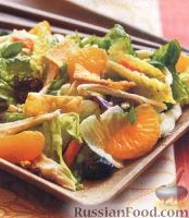 Фото к рецепту: Куриный салат с мандаринами