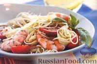 Фото к рецепту: Спагетти с креветками, помидорами и соусом песто