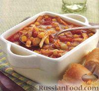 Фото к рецепту: Быстрый куриный суп с фасолью, кукурузой и помидорами