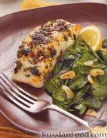 Фото к рецепту: Палтус жареный с чесночным шпинатом