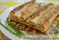 Фото к рецепту: Жареные трубочки из лаваша с сырной начинкой