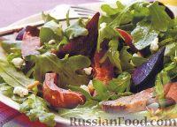 Фото к рецепту: Салат мясной, с рукколой, свеклой и сыром