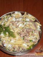 Фото к рецепту: Салат из печени трески (минтая) с сыром