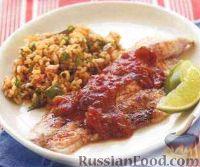 Фото к рецепту: Жареный сом с томатным соусом