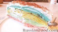 Фото к рецепту: Разноцветные блины (блинный торт)