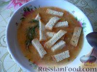Фото к рецепту: Постный овощной суп с чечевицей и сухариками