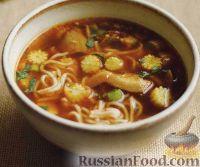 Фото к рецепту: Тайский суп с рисовой лапшой