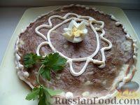 Фото к рецепту: Торт печеночный из куриной печени (с молоком)