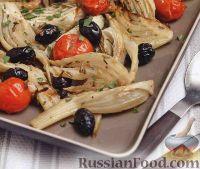 Фото к рецепту: Фенхель, запеченный с помидорами и оливками