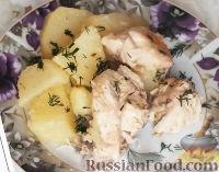 Фото к рецепту: Курица с картошкой в сметане