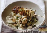 Фото к рецепту: Жареный сыр с фасолевым салатом