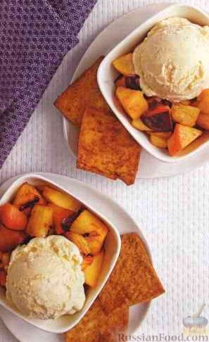 Фото к рецепту: Десерт из жаренных на гриле фруктов