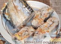 Фото к рецепту: Скумбрия фаршированная, варенная в пакете