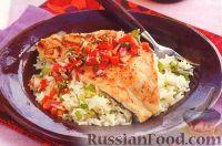 Фото к рецепту: Жареный морской окунь с имбирным соусом