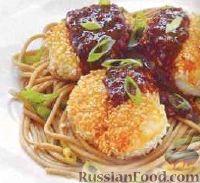 Фото к рецепту: Жареные морские гребешки с пряным соусом