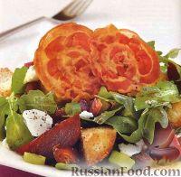 Фото к рецепту: Салат из рукколы с ветчиной и свеклой