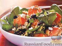 Фото к рецепту: Салат из кускуса с бобами, шпинатом, бататом и сыром