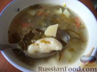 Фото к рецепту: Щавелевый суп с клецками