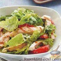 """Фото к рецепту: Салат """"Цезарь"""" с помидорами"""