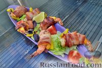 Фото к рецепту: Тигровые креветки, с сыром чеддер и беконом