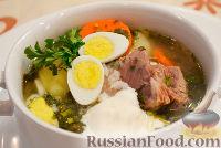 Фото к рецепту: Зеленый борщ с говяжьими ребрами и перепелиными яйцами