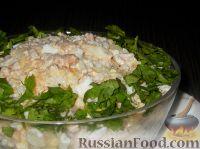 Фото к рецепту: Салат из горбуши с рисом