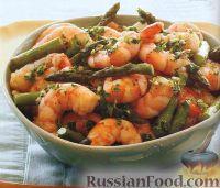 Фото к рецепту: Жареные креветки со спаржей