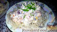 Фото к рецепту: Спагетти с морепродуктами в сливочном соусе