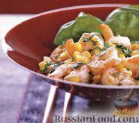 Фото к рецепту: Креветки, жаренные с кукурузой