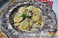 Фото к рецепту: Равиоли с сыром и мятой