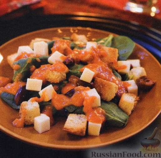 Рецепт Салат из шпината с жареными помидорами