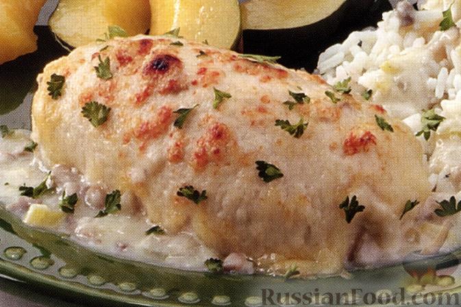 Рецепт Куриные грудки со шпинатом и мясом крабов