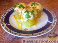 Фото к рецепту: Кабачки, фаршированные овощами, грибами и рисом