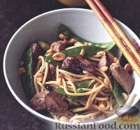 Спагетти с кусочками жареной свинины - рецепт пошаговый с фото