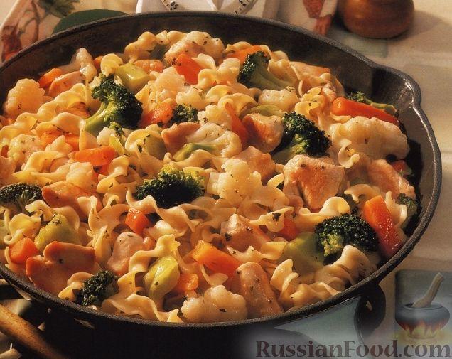 Приготовить макароны с овощами