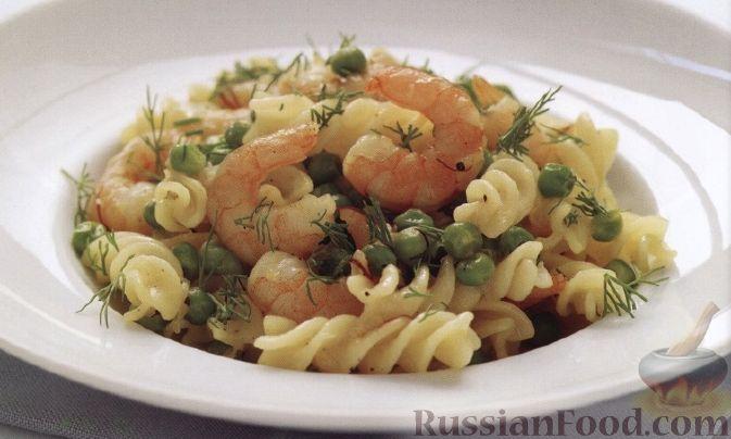 Рецепт Макароны с креветками и зеленым горошком
