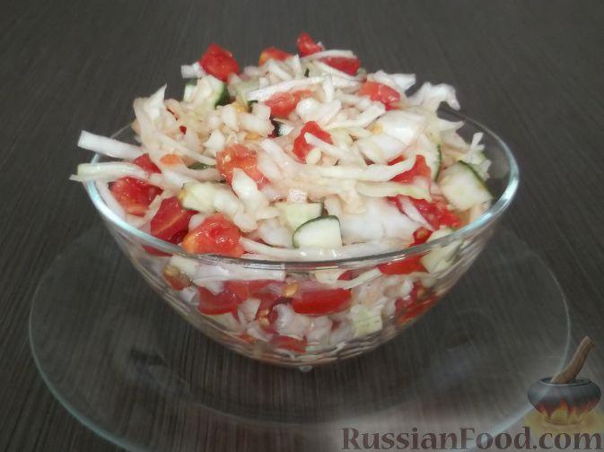 Салат из помидор огурцов и капусты рецепт с фото