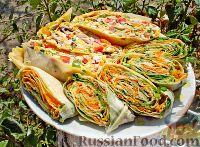 Фото к рецепту: Два вида рулета из лаваша - овощной и мясной