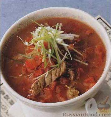 Томатный суп с мясом рецепт