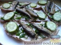Фото к рецепту: Бутерброды со шпротами и чесноком