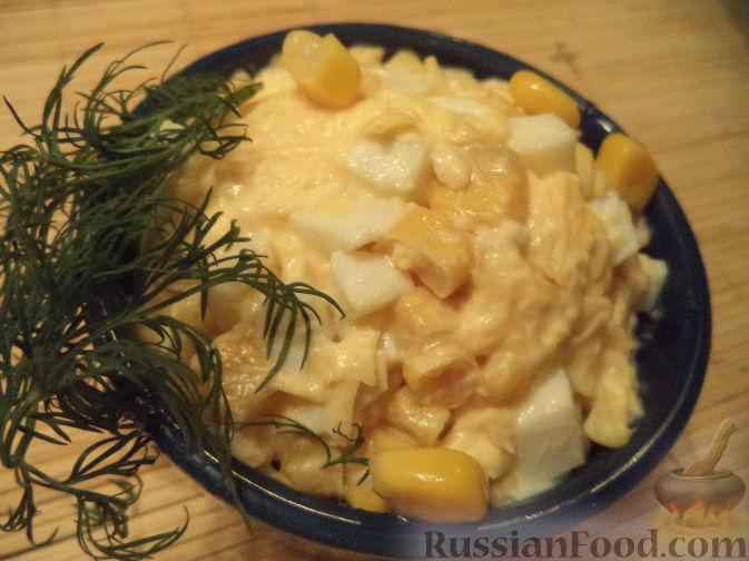 салат с яйцом и кукурузой пошаговый рецепт с фото